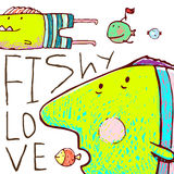 Lovely Cartoon Funny Fish Love Greeting Card Design Hand Drawn Stock Images