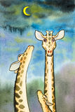 Lovely cartoon of giraffe in blue sky with the moon Royalty Free Stock Image