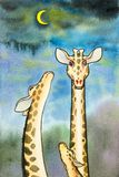Lovely  cartoon  of giraffe in blue sky with the moon Stock Photo