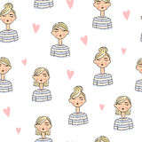 Lovely cartoon girls seamless background. Dressed in striped clothes. Different hairstyles. Hearts around Royalty Free Stock Photography