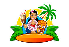 Lovely cartoon Hawaii Hula girl. Cartoon vector illustration of lovely Hawaii Hula girl with cocktail, tiki mask and surf board. Bar logo template Stock Image