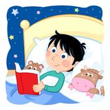 Bedtime - Daily routine - Little boy reading book in his bed. Lovely cartoon illustration - Bedtime story - kid with dark hair reading fairy tale to his toys Royalty Free Stock Photos