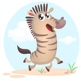 Lovely cartoon illustration of zebra dancing excited. Vector character illustration. For children book Royalty Free Stock Photo