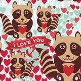 Lovely cartoon seamless background pink heart, raccoon, love. Royalty Free Stock Images