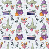 Lovely cartoon seamless pattern with Christmas symbols. Christmas symbols Santa Claus, Christmas tree, candies, present poxes, Christmas ball royalty free illustration