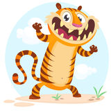 Lovely cartoon tiger character. Vector illustration on simple nature background. Lovely cartoon tiger character. Wild jungle animal collection. Baby education royalty free illustration