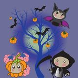 Lovely Cartoons are typical for the holiday of Halloween. vector illustration