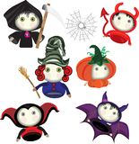 Lovely Cartoons are typical for the holiday of Halloween. Bat, witch, pumpkin, death, devil stock illustration