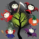 Lovely Cartoons are typical for the holiday of Halloween. Bat, witch, pumpkin, death, devil royalty free illustration