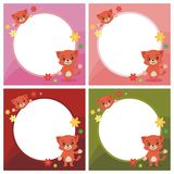 Lovely Cat showing something on the blank circle. Vector cartoon illustration, with flower and Royalty Free Stock Photo