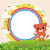 Lovely Cat showing something on the rainbow. Cartoon vector illustration, with rainbow cloud, star, grass, flower and beautiful landscape royalty free illustration