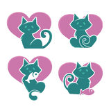 Lovely cats. Lovely cartoon cats, my favorite pets, vector collection Stock Images