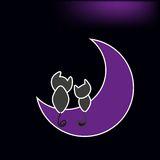 Lovely cats sitting on the moon vector illustration