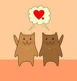 Lovely cats. Two cute brown cats with pink noses on light orange background thinking of love Vector Illustration