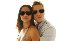 Lovely Caucasian Couple Wearing Shades Together Royalty Free Stock Image