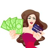 Lovely cheerful girl holding fan of dollar money banknotes and credit card standing isolated stock illustration