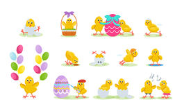 Lovely chickens have fun, celebrate, indulge, in Easter, run, fly. Stock Photo