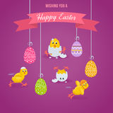 Lovely chickens have fun, celebrate, indulge, in Easter, run, fly. Royalty Free Stock Images