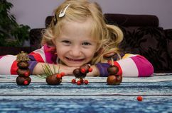 Active child with autumn craft Royalty Free Stock Images