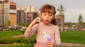 Lovely child blows soap bubbles on summer evening. stock video footage