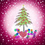 Lovely  child Christmas greeting card 2014. Lovely Christmas greeting card 2014 with shiny hearts tree on starry pink sky background Royalty Free Stock Images