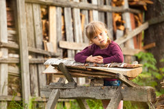 Lovely child in farm Stock Photos