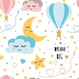 Lovely childish background made of cartoon signs: stars clouds moon air ballon vector pattern. Lovely childish background made of cartoon signs: hearts, stars vector illustration