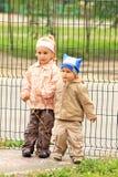 Lovely children on the backyard royalty free stock photo