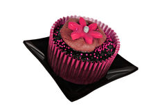 Lovely chocolate cupcakes decorated in pink Stock Photo