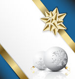Lovely Christmas card / background. Golden bow on a ribbon with white and blue background - vector Christmas card Stock Image