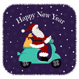 Lovely Christmas card - santa driving motorcycle, delivery the gifts. Happy New Year, Merry Christmas design. On the blue background snow and set of snowflakes Stock Image