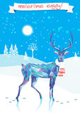 Lovely Christmas image. Deer, winter landscape, Christmas tree.Banner wintertime engoj Stock Image