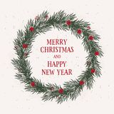 Lovely Christmas and New Year`s Eve Card. Round Shape Green Wreath with Red Text. Vintage Style. stock illustration