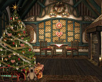 Lovely christmas room. In an old cottage Royalty Free Stock Photo