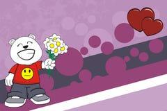 Lovely chubby polar bear cartoon expression background Stock Photography