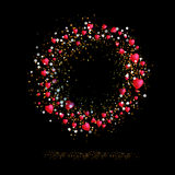 Lovely circle frame with hearts Royalty Free Stock Photos