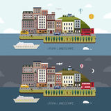 Lovely city landscape day and night in flat design Royalty Free Stock Image