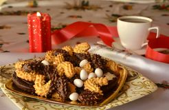 Lovely close up image of Christmas cookies and cup of coffee Royalty Free Stock Images