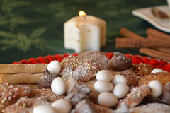 Lovely close up image of Christmas cookies on a plate on a table Stock Images