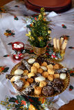 Lovely close up image of Christmas cookies on a table. Christmas cookies with chocolate,nuts and coconut decorated on a table Stock Image
