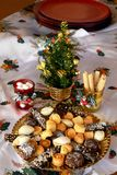 Lovely close up image of Christmas cookies on a table. Christmas cookies with chocolate,nuts and coconut decorated on a table Stock Photos