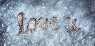 Lovely colored abstract winter love you background Stock Photography
