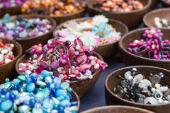 Lovely colored stone jewelry and beads. Royalty Free Stock Photo