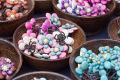 Lovely colored stone jewelry and beads. Stock Image