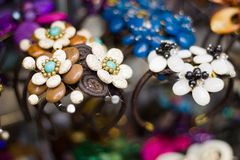 Lovely colored stone jewelry and beads. Royalty Free Stock Photography