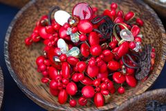 Lovely colored stone jewelry and beads. Stock Photos