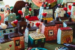 Lovely and colorful decorative heart houses of happiness. In a Turkish Bazaar in Istanbul royalty free stock photography