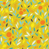 Lovely colorful  seamless pattern with cute oranges, lemons and leaves in bright colors. Stock Image