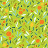 Lovely colorful  seamless pattern with cute oranges, lemons and leaves in bright colors. Royalty Free Stock Photos