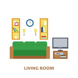 Lovely and colorful vector interior design living room in trendy flat style. Modern home decoration. Minimalistic Stock Photography